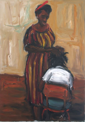 Patrick Makumbe, Hairdresser, 2004, oil on canvass, 120 x 85 cm
